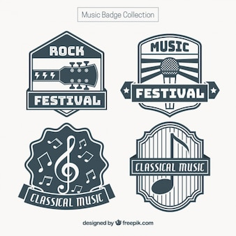 Set de pegatinas vintage de música