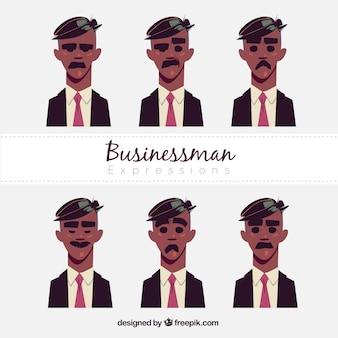 Set de personaje de hombre de negocios con seis expresiones faciales