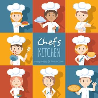 Set de personajes de chef con diferentes accesorios