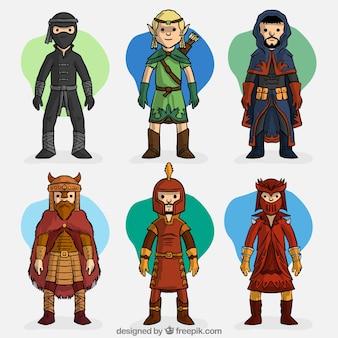 Set de personajes dibujados a mano de videojuego de rol