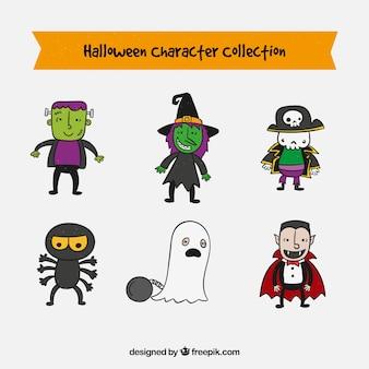 Set de personajes dibujados a mano para los diseños de halloween