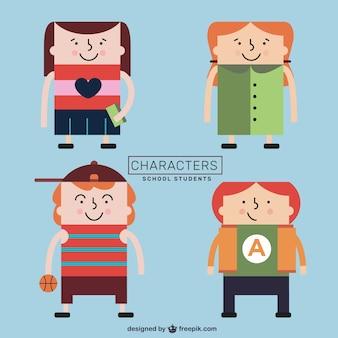 Set de personajes estudiantes de colegio