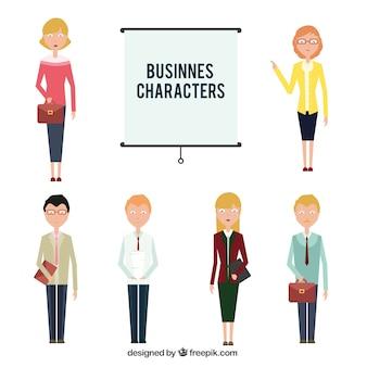 Set de personajes planos de negocios
