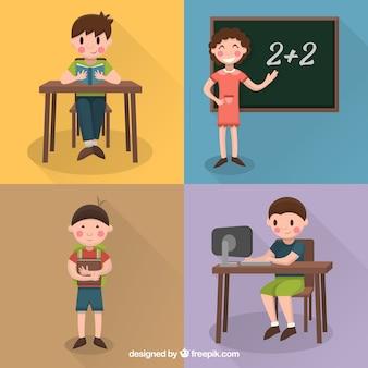 Set de personajes planos estudiantiles