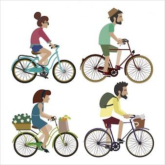 Set de personas montando en bicicleta