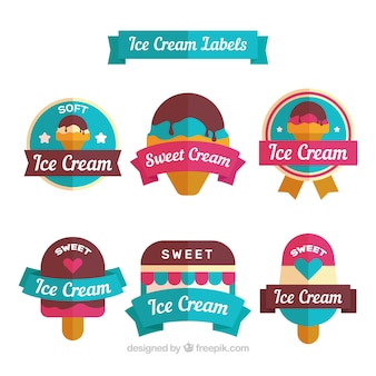 Set de seis etiquetas de helados planas