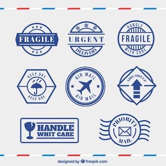 Set de sellos azules de precaución en estilo vintage