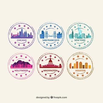 Set de sellos de ciudades de colores en diseño plano