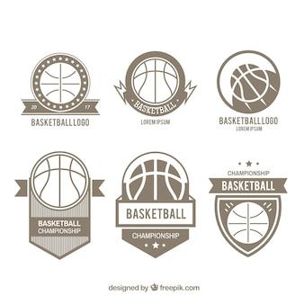 Set de sies logos de baloncesto