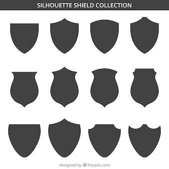 Set de siluetas de escudos