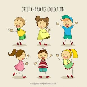 Set de simpáticos niños dibujados a mano