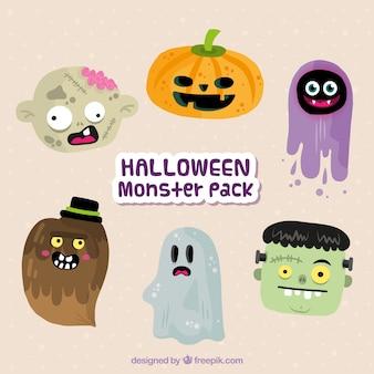 Set de simpáticos personajes de halloween