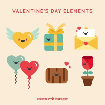 Set de simpáticos personajes de san valentín