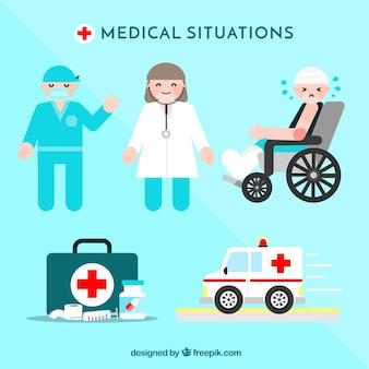 Set de situaciones médicas en estilo plano
