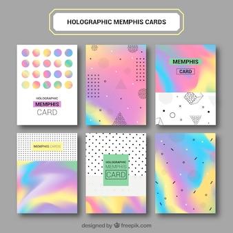 Set de tarjetas abstractas infográficas de colores
