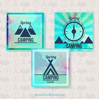 Set de tarjetas celestes de campamento de primavera