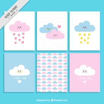 Set de tarjetas de amor de adorables nubes