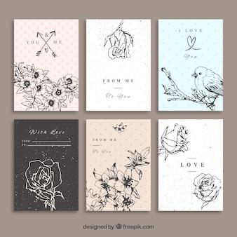Set de tarjetas de bocetos de flores sobre amor