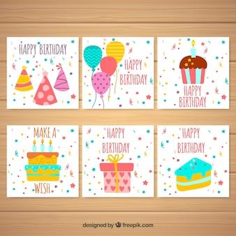 Set de tarjetas de cumpleaños con elementos y confeti