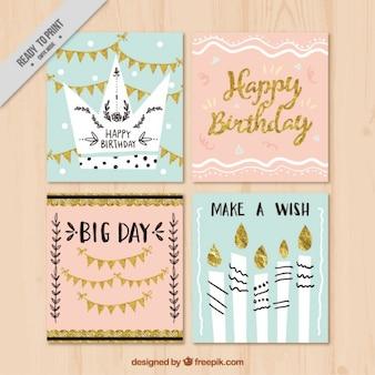 Set de tarjetas de cumpleaños vintage con detalles dorados