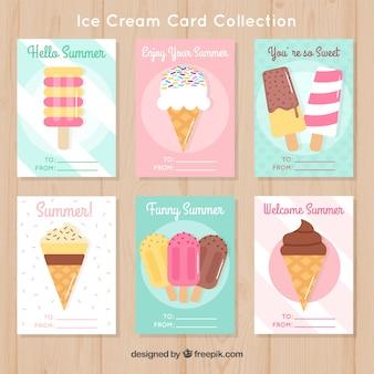 Set de tarjetas de helados en diseño plano