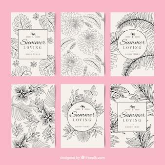 Set de tarjetas de verano con flores dibujadas a mano