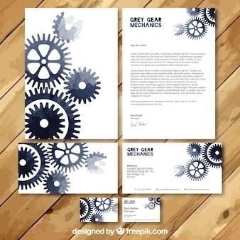 Set de tarjetas de visita de mecánico en acuarela