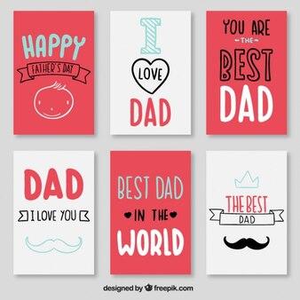 Set de tarjetas del mejor papá rojas