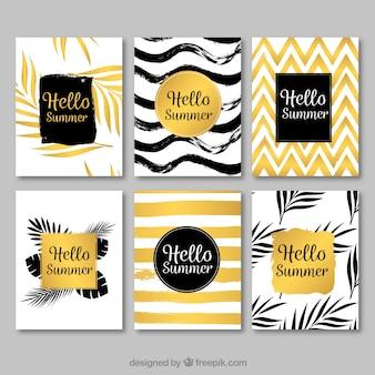 Set de tarjetas elegantes doradas de verano