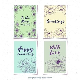 Set de tarjetas retro con flores dibujadas a mano