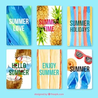 Set de tarjetas simpáticas de verano de acuarela