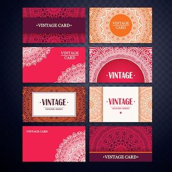 Set de tarjetas vintage con mandalas