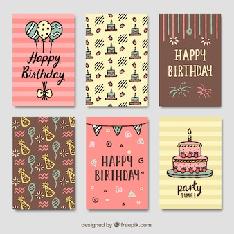 Set de tarjetas vintage de cumpleaños