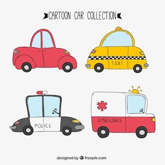 Set de taxi y otros coches dibujados a mano