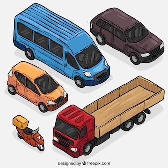 Set de tipos de vehículos dibujados a mano