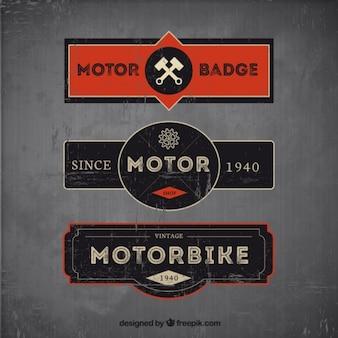 Set de tres badges de motos en estilo vintage