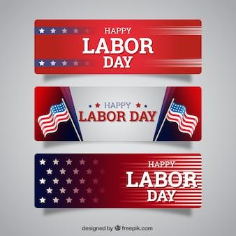 Set de tres banners americanos del día del trabajo