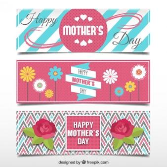 Set de tres banners bonitos del día de la madre