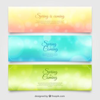 Set de tres banners borrosos con efecto bokeh para primavera