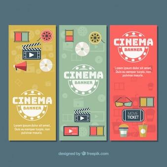 Set de tres banners con elementos de cine