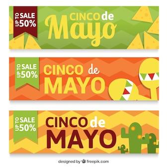 Set de tres banners de celebración del Cinco de Mayo