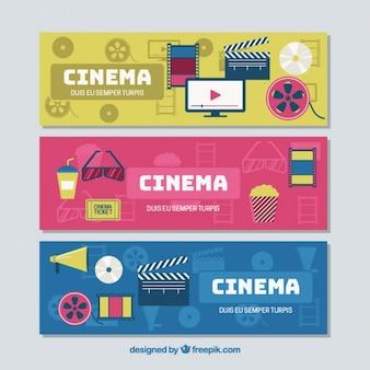 Set de tres banners de colores con elementos en diseño plano