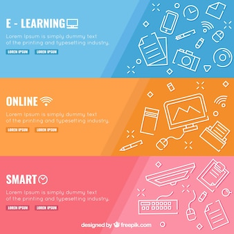 Set de tres banners de educación digital con elementos blancos en diseño plano