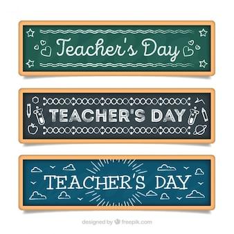 Set de tres banners de pizarra del día del profesor