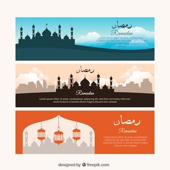 Set de tres banners de ramadan