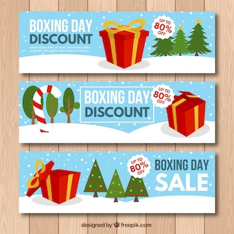 Set de tres banners del boxing day coloridos