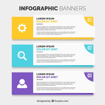 Set de tres banners infográficos en diseño plano