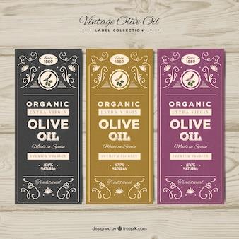 Set de tres etiquetas de aceite de olive en estilo retro
