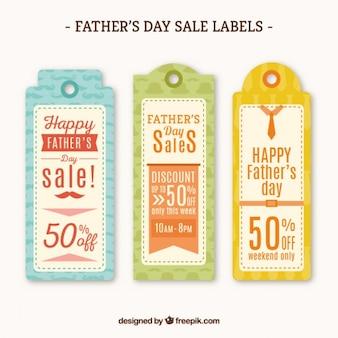 Set de tres etiquetas de ofertas del día del padre