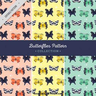 Set de tres patrones con mariposas
